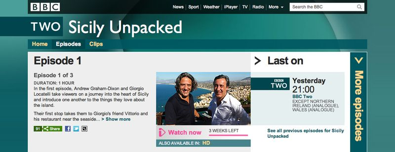 BBC Two - Sicily Unpacked, Episode 1